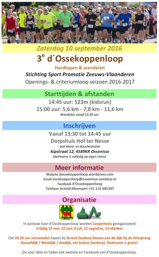Flyer d'Ossekoppenloop 2015